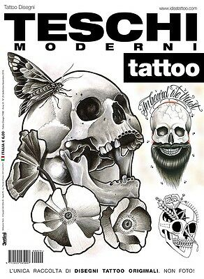 Contemporary Skulls Tattoo Design Flash Book - Dotwork, Blackwork & Traditional