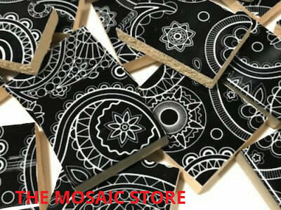 Handmade Ceramic Tiles Black Paisley - Art Craft Supplies Mosaic