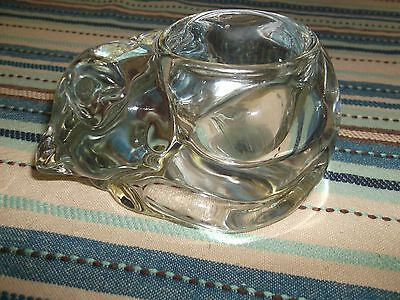 A Clear Indiana Glass Cat Voltive Candle Holder. No Chips, Cracks Or Repairs.