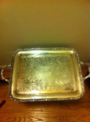 WM Rogers & Sons Victorian Rose Silver Plate Rectangular Handled Serving Tray