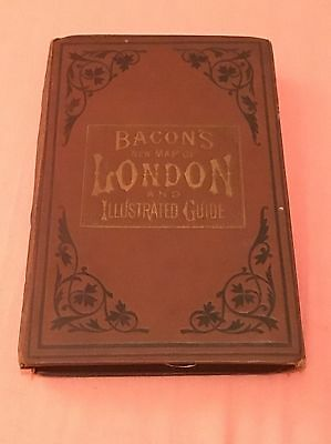 Bacon's New London Map Ilustrated Antique Rare C1876