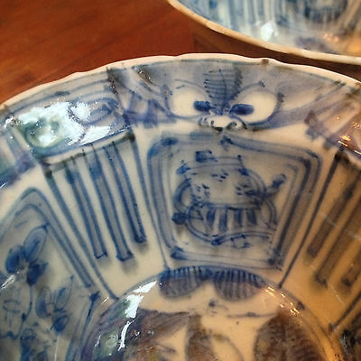 Two Chinese Taotie Klapmuts Kraak Bowls, Ming. Bowls 1 & 2 Only
