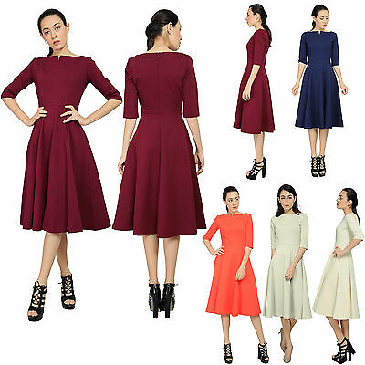 a4deec67d75c Marycrafts Women's Elegant Fit Flare Tea Midi Dress Office Business Work  Dresses