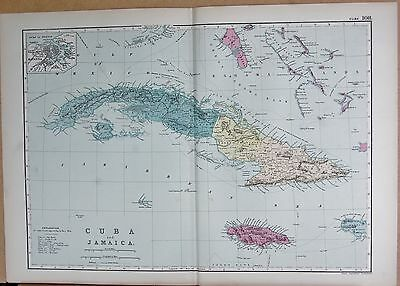 1890 Large Victorian Map - West Indies, Cuba And Jamaica