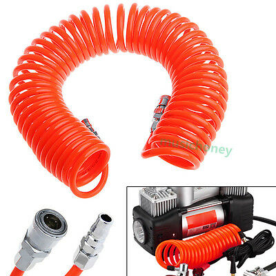 8m 26 ft 8mm x 5mm Flexible PU Recoil Hose Spring Tube For Compressor Air Tool
