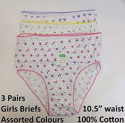 3 Pairs Girls Briefs Double Gusset Knickers Cotton Pants Underwear 9-11 Years