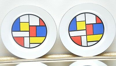 Vintage Color Block Salad Plates 1991 CBK Ltd. Red Blue Yellow White Black