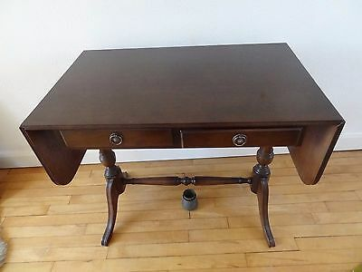 Small mahogany coloured sofa table in good condition/2 drawers.