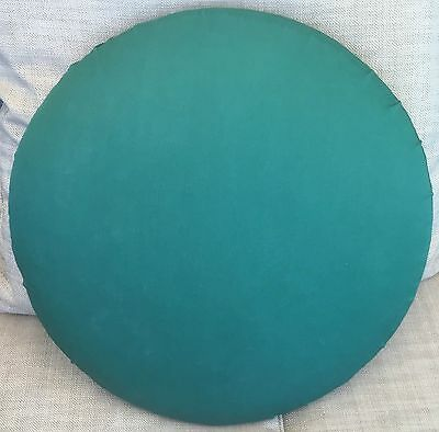 """Lacemaking pillow 18""""; green removable cover; hardboard and material back."""
