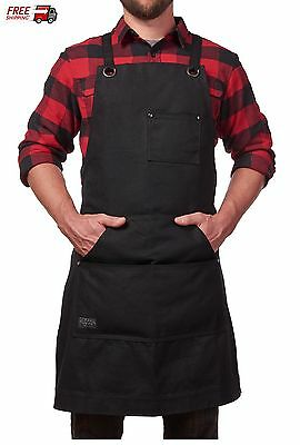 Rugged Work Apron Waxed Canvas Bib Water Resistant Cross-Back Straps Unisex XXL