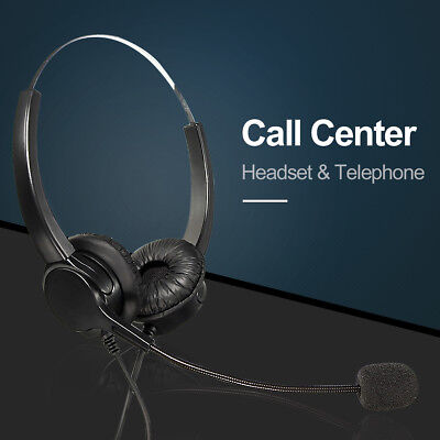 RJ11 Binaural Telephone Headset Call Center Answering System Wired Microphone