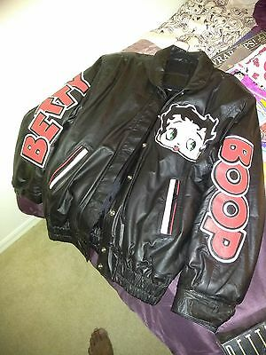 Vintage Black Leather Betty Boop Woman's Jacket size Medium