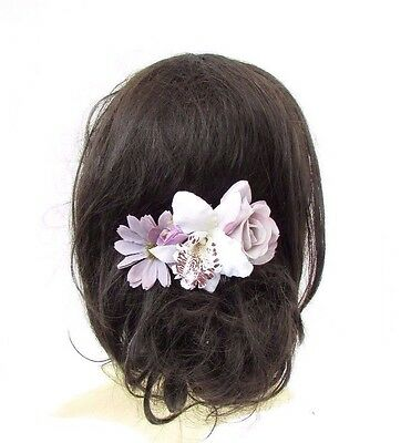 White Lilac Grey Light Purple Orchid Rose Daisy Flower Hair Comb Bridesmaid 3336