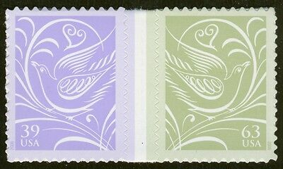 #3999b 39c & 63c Wedding Doves, Horz Pair w/ Gutter,  Mint **ANY 4=FREE SHIPPING