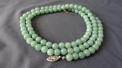 "Antique Chinese Green Jade 8 mm Ball Beads Gold Clasp Necklace 52g 27"" Inches"