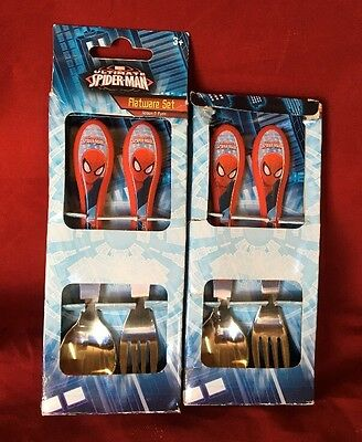 New 2 Pack  Spiderman Flatware Set Spoon & Fork Each (2 + 2)