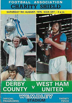 1975 Charity Shield Derby County vs West Ham Programme