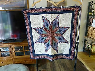 Handmade Quilted Wall Hanging With Star Design.  40 X 38.  Absolutely Beautiful!