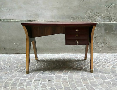 Scrivania Desk Wood Ottone Brass Design Fifties anni 50 Ponti