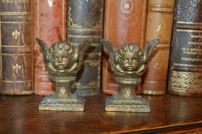 Antique Pair French Bronze Ormolu Cherub Finials Decorative Mounts