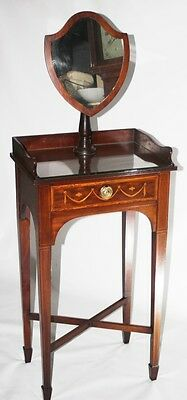 Antique Edwardian Mahogany Marquetry Inlaid Dressing Table with Mirror [PL2707]