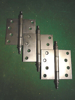 SET of  3  VINTAGE VICTORIAN HINGES  4 x 4  STEEPLE TOP - VERY NICE  (4260)
