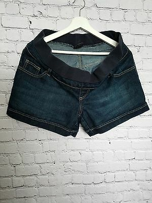 Oh Baby By Motherhood Denim Shorts Medium Dark Wash Low Rise Semi Band Sz Large