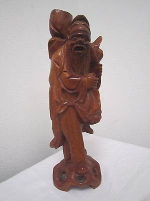 "Vintage Hand-Carved Wooden TEAK STATUE Old Japanese TRAVELING MAN 11 3/4"" *"