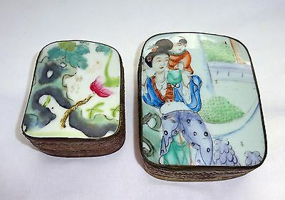 2x Chinese White Metal Covered Boxes set w. Porcelain & Enamel Plaque Tops (Dov)