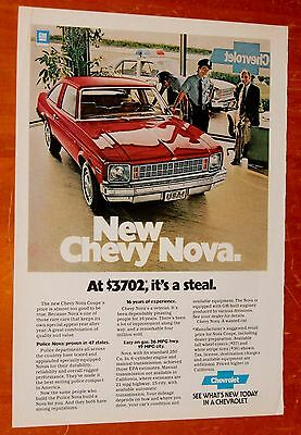1978 Chevy Nova Coupe Ad With Police Cop Car / Vintage Chevrolet American
