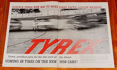 1958 Chevy Impala Or Bel Air Action For Large Tyrex Tires Ad - Vintage 50S