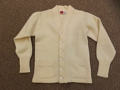 Vtg 1930s 40s Milwaukee Knit Ivory Wool Letterman Cardigan Sweater Shell Button