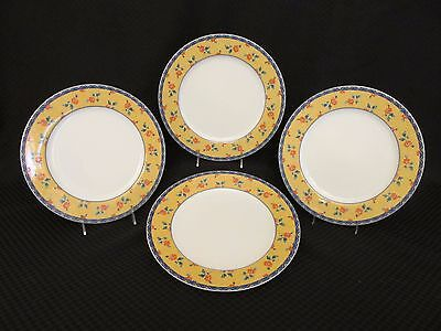 "Set of 4 Vista Alegre MADEIRA Blue/Yellow Floral 10.5"" Dinner Plates, Portugal"
