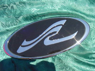 "SEA RAY SEARAY SR LOGO EMBLEM BADGE CHROME OVAL LARGE 11-7/8"" long ~ MUST SEE !!"