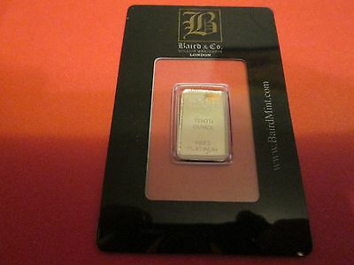 Ten (10) Baird & Co Platinum 1/10 oz Minted Bullion Bars in Assay