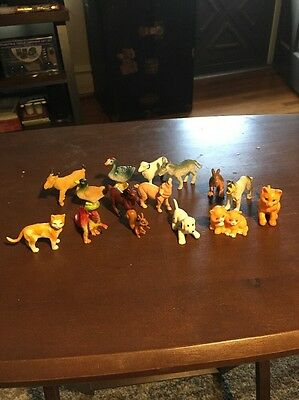 Plastic Animal Figure Lot Movable Lot of 15 Cat Horse Dog Donkey Pig Duck Goose