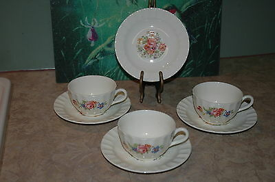 Edwin M Knowles - Floral Design - Fluted Rim - Coffee Cups (3), Saucers (4)