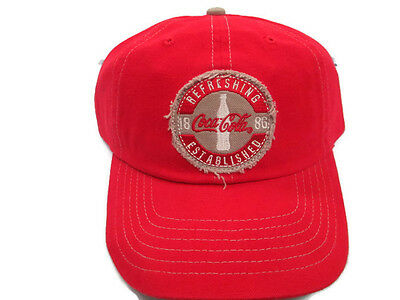 Coca-Cola  Frayed Patch Red Cap Ballcap Hat Adjustable- BRAND NEW