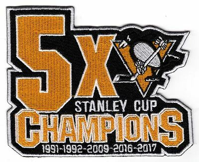 Pittsburgh Penguins Patch 5X Champions Stanley Cup Back To Back Champs 4 3/4 X 4