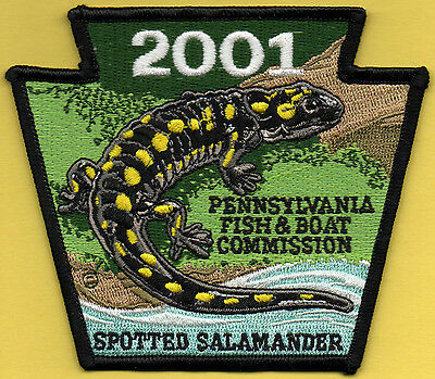 Pa Pennsylvania Fish Commission NEW '01 Spotted Salamander Non-game Series patch