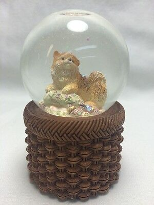 NOS NIB Pomeranian Snow Globe Mini Puppy Dog Living Stone Figurine 2002 Encore