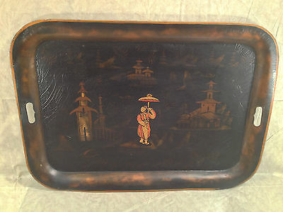 Vintage Reproduction Black and Gold Painted Japanese Tray Hiliu W B J... noff