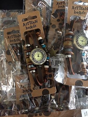 JOB LOT WHOLESALE 10 artisan beads Boho Charmed leather watches  / clearance