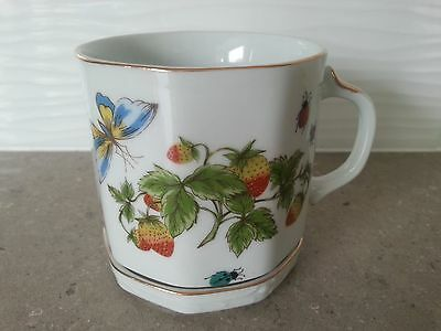 Hand Painted Lenwile Ardalt China Cup & Saucer - Butterfly & Strawberry Design