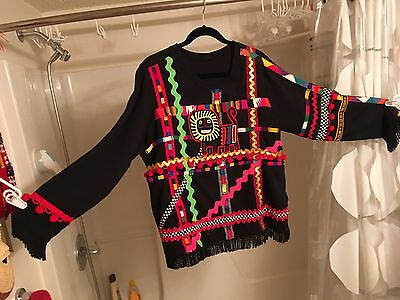 Authentic Panamanian Mola Sweater vintage rick rack colorful one of a kind