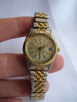 WALTHAM Two-Tone LADIES WRIST WATCH DATE Stretch Band 100Ft Water Resis. VTG