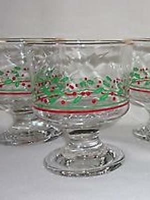 6 Vintage Arbys Footed Dessert Sherbet Dishes Footed Red Holly Berry Gold Rim