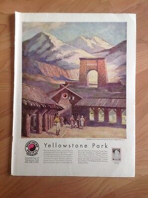 Vintage 1930 Magazine Advertisement Yellowstone Park & Northern Pacific Railro