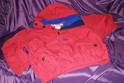 VTG Columbia Youth Sz 7/8 Pullover Windbreaker Ski Rain Jacket Red Hood Nice!