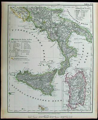 Southern Italy Sicily Sardinia Messina 1852 Flemming old antique color map